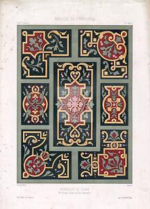 ORNAMENTAL - Various Floral Decorative Design Elements for Painters 1850 #B232