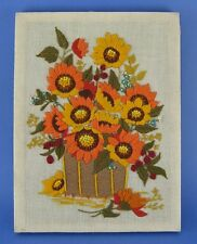 Completed Crewel Embroidery Tapestry Brown Basket of Sunflowers