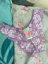 FREE GIFT BAG Ladies Lilac Lace Knickers Panties Size 8 - 10 Lingerie Small