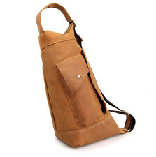 Men's Unisex Full Grain Leather Crossbody Shoulder Chest Bag Sling - Tan