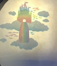 Vintage Iron On Tshirt Heat Transfer Rainbow Sky Castle Clouds And Waterfall HTF