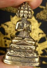 BRONZE  9 FACED BUDDHA STATUE PHRA SETTHI NAWAGOT +PHA YANT TEMPLE CLOTH.  A.