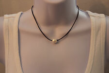 TRENDY Leather Cord Choker Necklace LARGE White Freshwater Pearl BOHO Beach