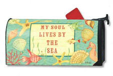 MY SOUL LIVES BY THE SEA Coastal Ocean Beach MAGNETIC MAILBOX COVER USA Made
