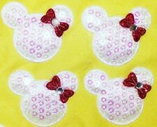 4PC Minnie Mouse Appliques Sew On Patch Padded Sequin Embellishments DIY Crafts
