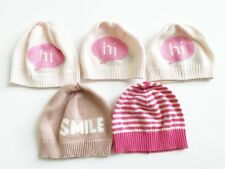 Gap Newborn Girl Knit Hats Pink Set Of 5 Size Up to 7 pounds, 0-3 Months