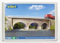 BNIB N GAUGE KIBRI 37662 RAIL OVER CURVED BRIDGE WITH ICEBREAKER PILLARS KIT