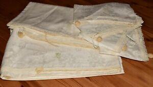 6 tlg. alte Leinen Damast Bettwäsche 2 x Bettbezüge, 4 x Kopfkissen Spitze (6620