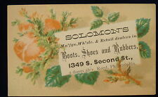 Vintage Solomon's Boots Shoes Rubbers Philadelphia PA Trade Card