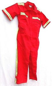Orange/Red Reflective Industrial Shortsleeve Coveralls Jumpsuit MINT