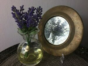 Vintage Mirror Round Metal Wall Frame, Decorative Old Small Mirror