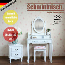 Schminktisch Kosmetiktisch Frisierkommode Mit Spiegel Hocker Dressing Table Weiß