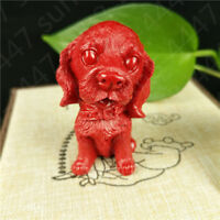 Chinese Red Organic Cinnabar Golden Retriever Dog Animal Statue Toy Decoration