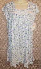 Medium M Eileen West Nightgown Cotton Knit Gown Short Sleeve White Blue Floral