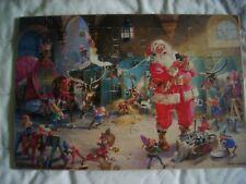 Antique Christmas Santa Vtg Jigsaw Puzzle signed Geo.Hinke Sweden 20 piece 8x12