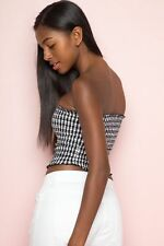 Brandy Melville Black White Gingham Checkered Ruffle Smocked Cleo Tube Top XS/S