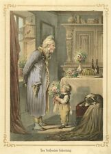 Grandfather has Birthday, Original Lithograph 1862