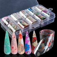 10pcs Holographic Flower Nail Foils Decal Nail Art Transfer Stickers Decoration