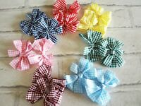 Gingham Hair Bows Clips - Hair Bobbles - School Hair Bows - Checked Bows