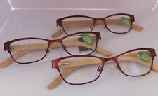 """3 Pair Foster Grant Women's Premium """"Carmen"""" Reader with Bamboo Temples and Case"""
