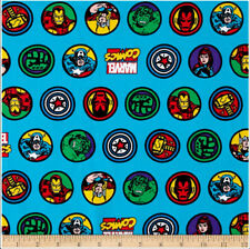 Marvel Comics RETRO BADGE JERSEY KNIT BLUE FABRIC BTY