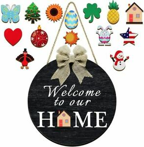 Interchangeable Welcome Sign for Front Door Decor Porch Wall Hanging Wood Black