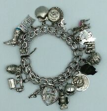 Vintage Sterling Silver Charm Bracelet With 22 Charms 79 Grams Some Are Sterling