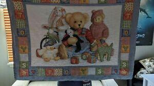 VINTAGE TEDDY BEARS CRIB BEDDING SET WITH REVERSIBLE BUMPER PAD & SKIRT & SHEET