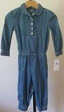 Nwt Ralph Lauren Infant Girls Blue Denim One Piece Romper Cotton 24 Mo New $45