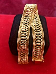 VINTAGE ESTATE 14K YELLOW  GOLD BRACELET  SOLID MADE IN ITALY 15.8 GRAMS