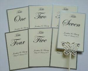 Personalised Wedding table numbers / names white or ivory *kraft & more colours