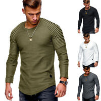 Fashion Men's Long Sleeve Basic Tee Shirts Crew Neck Slim Fit Shirt Tops T-Shirt