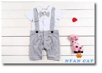 Baby Boy Formal Tuxedo SHORT Sleeve One-Piece Romper Suit size 00/0/1/2 grey