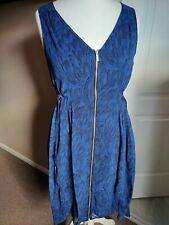 Gorgeous Mint Velvet Dress Zip Up Size 12 Blue Sleeveless Tie Belt Sleeveless