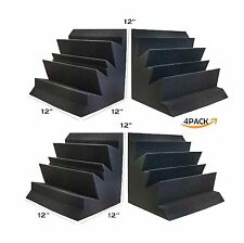 "Acoustic Foam Bass Trap Studio Soundproofing Corner Wall 12"" X 12"" X 12"" 4 PACK"