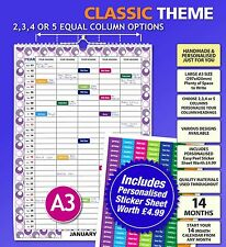 Large A3 Personalised Family Calendar Planner 2 3 4 or 5 Column Person 2018 2019