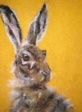 Hare / March Hare - Needle Felted Card - Original Artwork - not a print