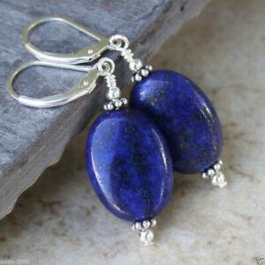 13x18mm Natural Blue Indigo Lapis lazuli Silver Leverback Dangle Earrings