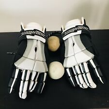 "Warrior Hypno Lacrosse Hockey Gloves 13"" White Black Two Meets Ncaa Spec Balls"