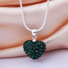 Fashion Women Crystal Pendant Jewelry Heart 925 Sterling Silver Necklace+Chain