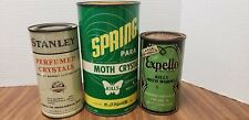 Vintage advertising tins - EXPELLO, SPRING & STANLEY MOTH CRYSTALS 3 CANS