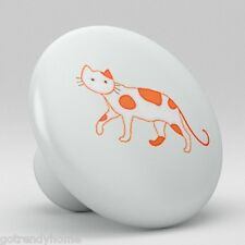 Cat Kitty Ceramic Knobs Pulls Kitchen Bathroom Closet Drawer Door Cabinet 038