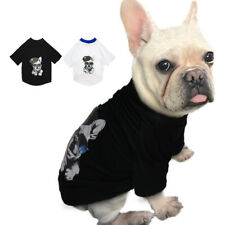 Small Medium Summer Dog T-shirt French Bulldog Clothes Soft Cotton Black White