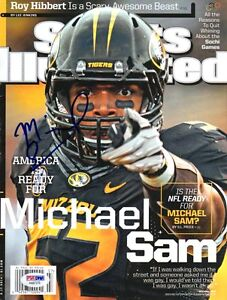 MICHAEL SAM SIGNED FULL SPORTS ILLUSTRATED NO LABEL FIRST GAY NFL PLAYER PSA/DNA