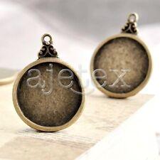 15pcs Antique Brass Bead Pendant Jewelry Finding Flat Round 29x22x2mm