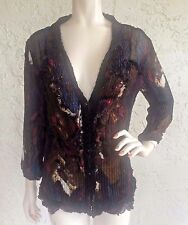 ALBERTO MAKALI Top Brown Floral Ruffled Pleats Sequin Button Down Art to Wear L