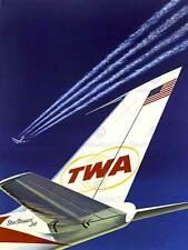 Compagnia aerea TWA STELLE STRISCE USA Aereo Aeroplano vintage pubblicità poster 1558py
