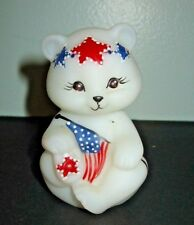 Fenton Patriot Garland Bear Figurine Signed Diane Barbour