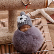 PomPom Lovely Sleeping Baby Doll Key Chain Rabbit Fur Fluffy Bag Decor Keyrings