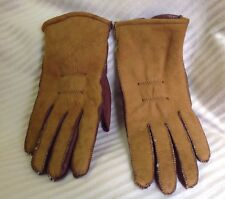 VINTAGE WOMEN'S BROWN LEATHER AND TAN SUEDE/SHEEPSKIN GLOVES